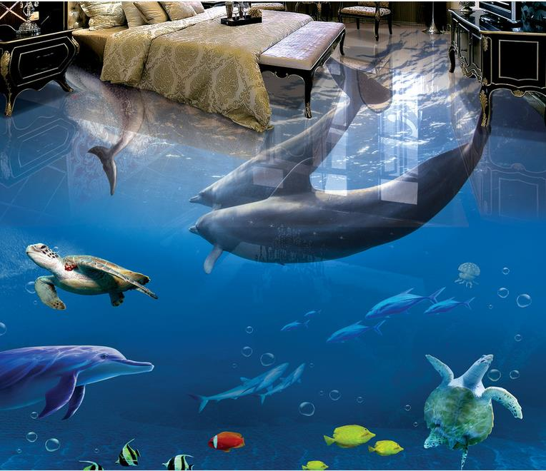 3d floor mural wallpaper custom living room floor 3d self adhesive wallpaper Dolphin Underwater World vinyl flooring book knowledge power channel creative 3d large mural wallpaper 3d bedroom living room tv backdrop painting wallpaper
