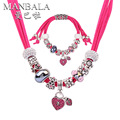 MANBALA Red Crystal Heart Pendant Necklace Bracelet for Women Girlfriend Best Gift Romantic Silver Plated Jewelry Sets 900AG