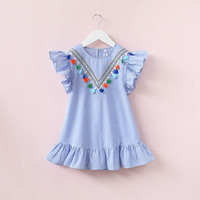 New tassel petal style girls casual blue striped dress fashion top quality children's clothes summer princess dress 17A801