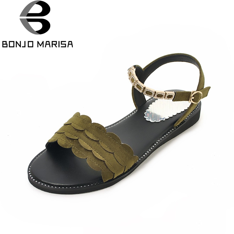 BONJOMARISA Large Size 34-43 Flock Summer Sandals Women Shoes Leisure Flat With Comfort Woman Shoes