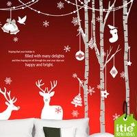 Рождество стены Стикеры x mas Лесной Олень дерева, настенные магазин одежды Кофе витрину Стекло Стикеры Домашний декор украшения
