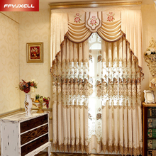 Luxury Europe Embroidered Valance Decoration Curtain For living Room Bedroom Window Treatment Drapes Custom Made Tulle