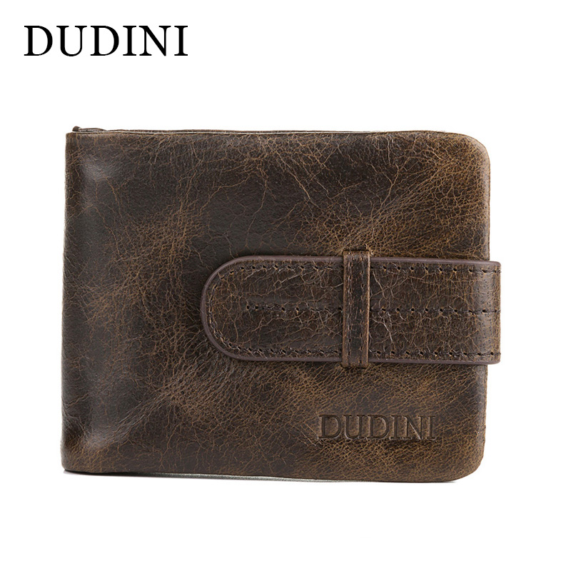 [DUDINI] Vintage Genuine Leather Short Men Wallet Coin Purse Patent Wallets Men's Zipper Carteira Masculina Metal Buckle Wallet 2017 new wallet small coin purse short men wallets genuine leather men purse wallet brand purse vintage men leather wallet