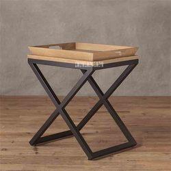 Kleine Wohnung Tee Tisch Einfache Massivholz Wohnzimmer Kaffee Tisch Schlafzimmer Seite tisch Holz Tablett Solide Eiche Eisen Seite tabelle