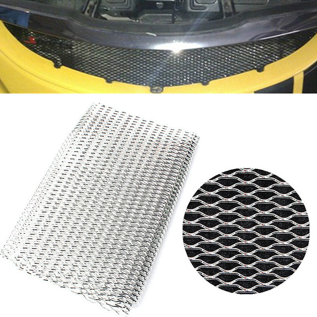 Brand New Universal 100cm x 33cm Aluminium Racing Grille Net Mesh Vent Car Tuning Grill Silver Durable Racing Grill Nets