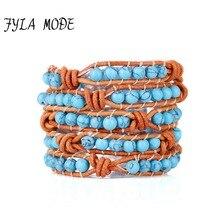 Fyla Mode Womens Bracelets Top Quality Natural Stone Bead 5 Strands Weave Leather Wrap Bracelet Vintage Handmade Natural Stones