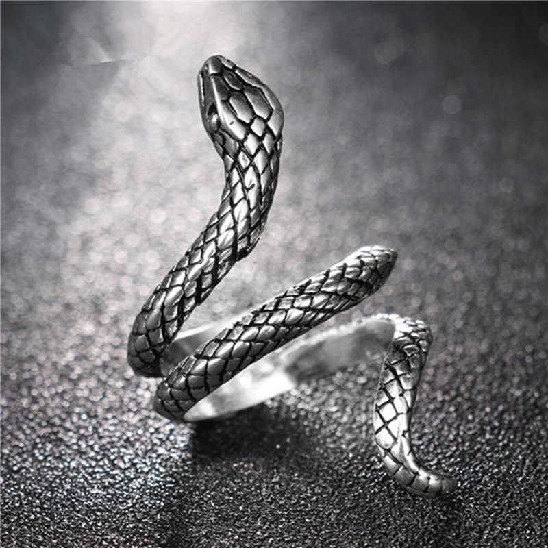 Hurtownie moda wąż pierścienie dla kobiet/mężczyzn kolor srebrny metali ciężkich pierścień punk rock w stylu Vintage biżuteria dla zwierząt