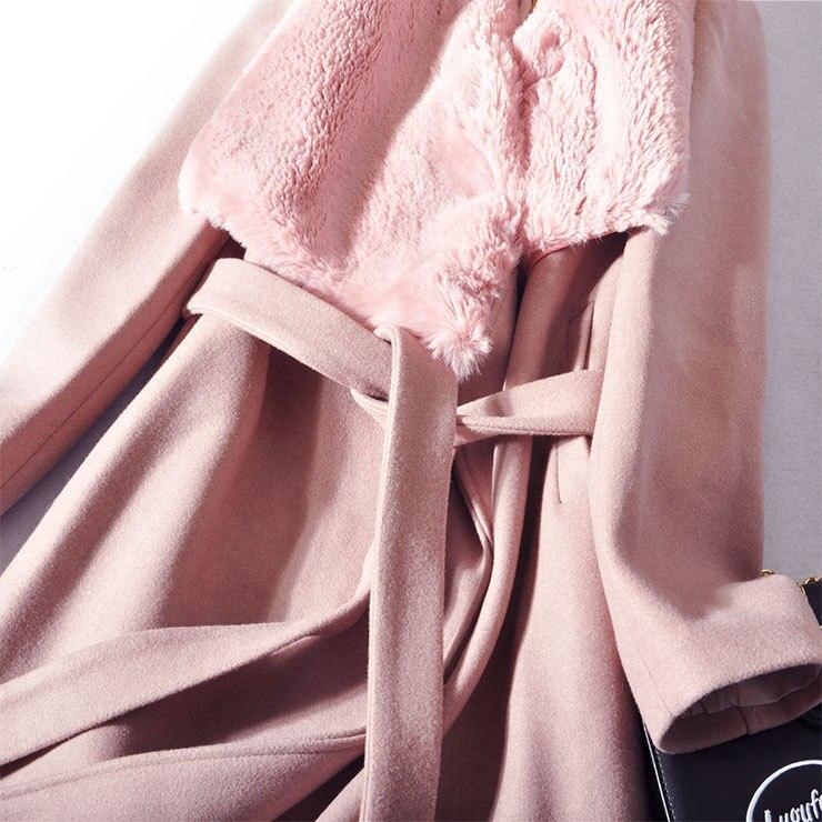 Black Casual Ceinture Et Turn De 3xl Laine Nouveau Automne Collier Plein L pink Manches Solide 2018 Mode Samgpilee Longues down Mince Mélanges D'hiver Femmes 8nO0wkP