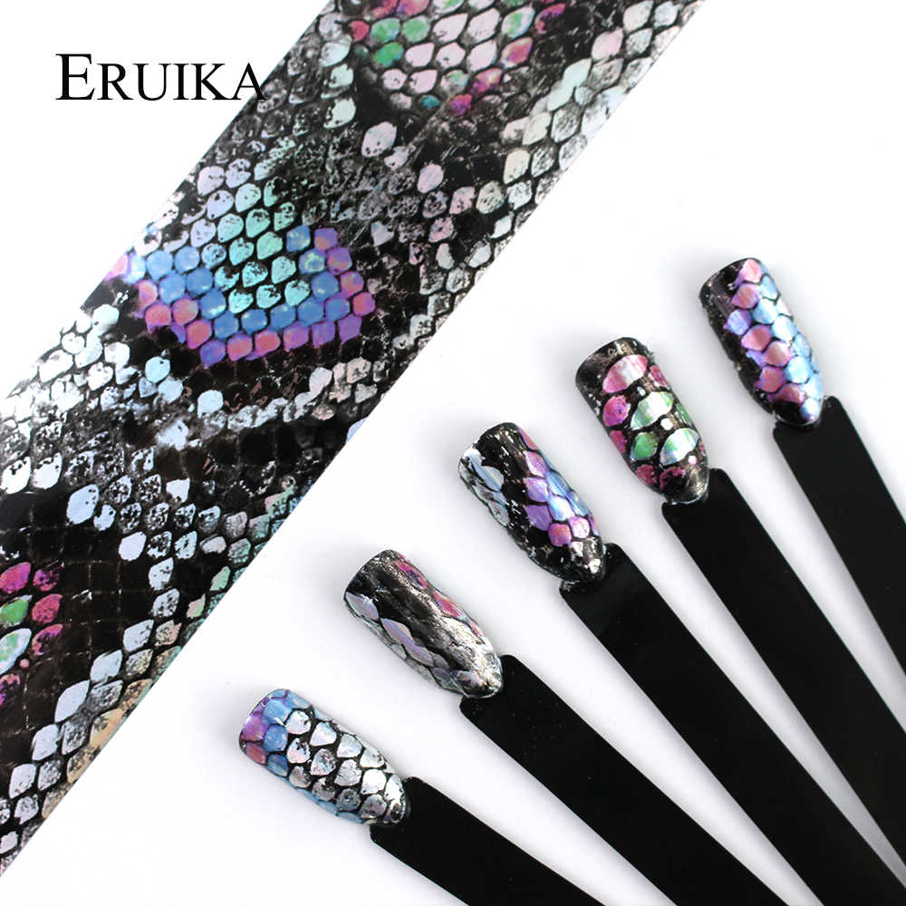 ERUIKA 16pcs/set Snake Design Nail Foils 20*4cm Holo Nail Art Transfer Sticke Holographic Decals Manicure Decoration