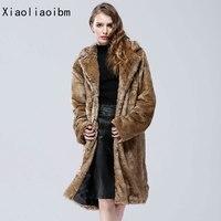 חיקוי מינק החורף עבה מעיל מעיל פו פרווה חם מזויף החורף מקרית הארוך גריי אופנה גדול פרווה בתוספת גודל