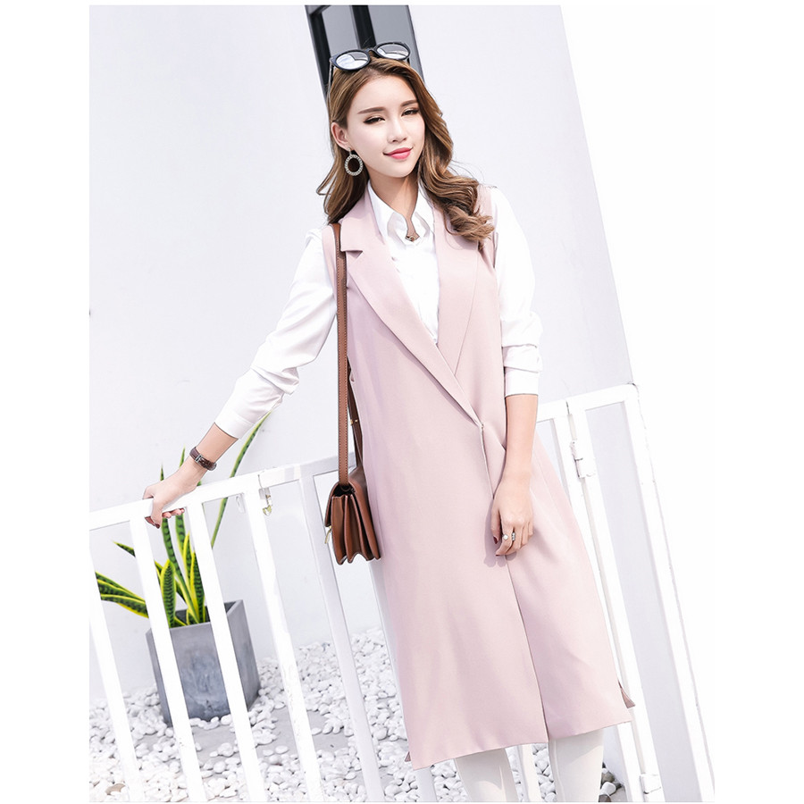 Women Long Vest Coat 2018 New Fashion Spring Pink Black Veste Femme Casual Sleeveless Veste Femme Waistcoat Colete Feminino