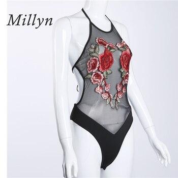 Millyn hot summer new sexy lingerie hot rose embroidery teddy gauze leotard Perspective erotic ladies sleepwear