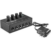 Sıcak!! Ab Tak  Ha400 Ultra Kompakt 4 Kanal Mini Ses Stereo kulaklık amplifikatörü Güç Adaptörü Siyah Ile