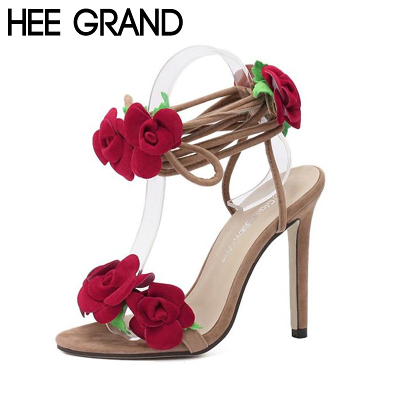 ФОТО Sexy Women Sandals Red Flower Thin High Heel Pumps Fashion Female Summer Shoes Woman XWZ3278