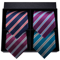 Hi Tie Luxury Silk Men Tie Set Classic Striped Blue Red Purple Gift Boxed Tie Cufflinks Handkerchiefs Set Wedding Male Ties