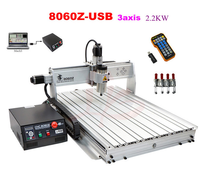 2.2kw CNC engraving machine 8060Z-USB 3axis metal woodworking lathe, free tax to Russia countries no tax to eu 2 2kw 8060 cnc machine 3axis metal engraving router 4000mm min with usb port and mach3 remote control