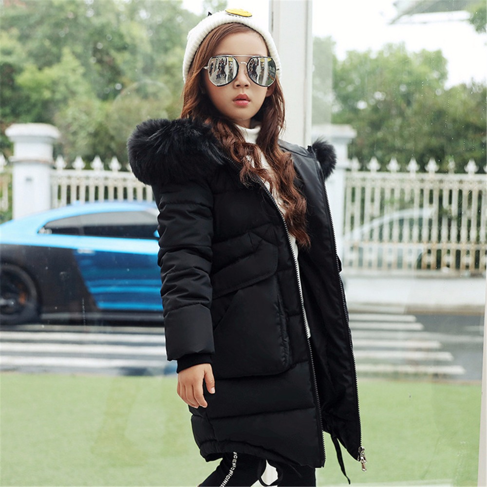 New Fashion Kids Warm Thick Fur Collar Hooded Daddy Chen Children Winter Jacket Girl Winter Coat long down Coats For Teenage fashion girls winter white duck down jackets and coats children faux fur hooded long coat kids girl thick warm jacket 2017