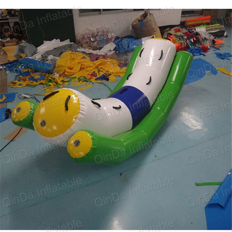 2016 hot selling inflatable water totter slide 0.9mm PVC Tarpaulin seesaw for water game children pool toys children shark blue inflatable water slide with blower for pool