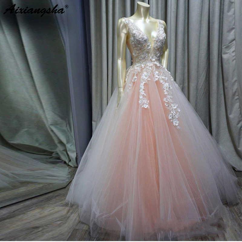 8310d95ab2 Romantic Design Princess Blush Pink Beaded Lace Applique vestidos de fiesta  Party Prom Gowns 2019 Ball Gown Long Prom Dress