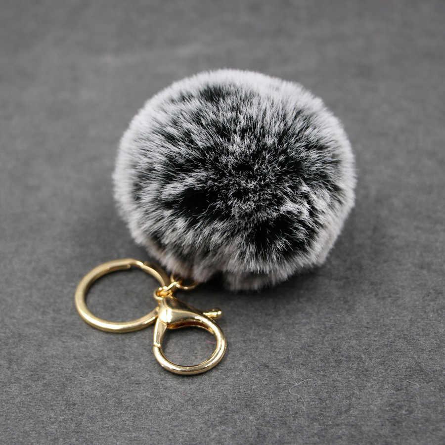Gran imitación de cuero 8 CM piel pompón llavero conejo bulbo de pelo bolsa Pom bola clave cadena colgante Porte Clef para mujeres encantador mullido