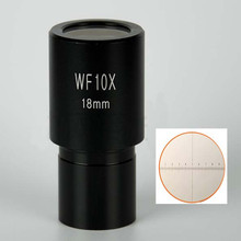 1pc WF10X/18mm Wide Angle Biological Microscope Eyepiece Lens Graduated Scale Reticle Ruler 0.1mm and Mounting Size 23.2mm wf 10f 10x reticle adjustable eyepiece