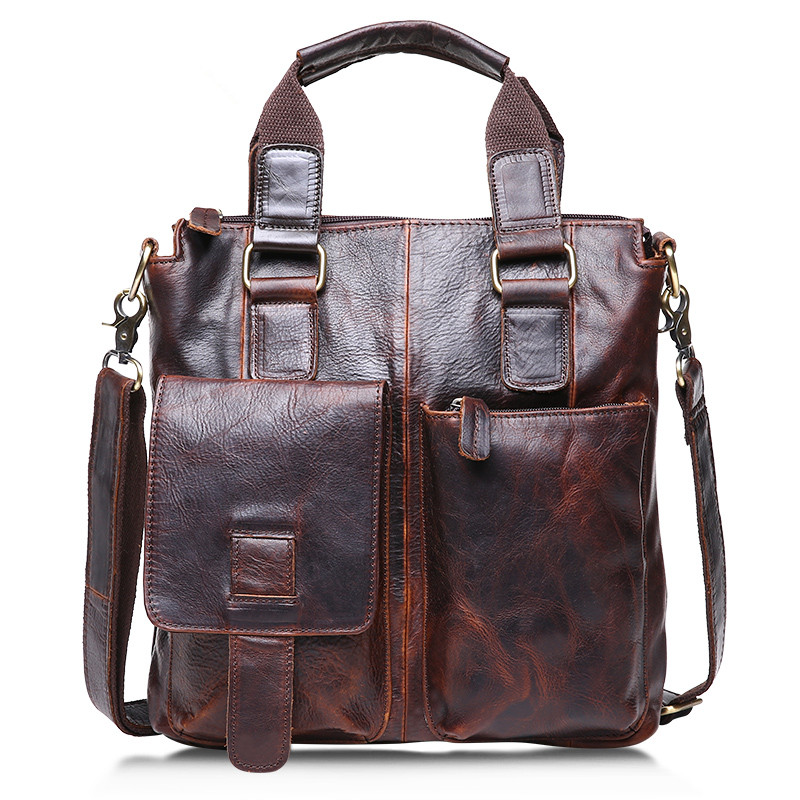 ФОТО Vintage Chocolate / Brown Real Skin Genuine Leather Men Messenger Bags Cowhide Man Briefcase Portfolio Handbags #M259