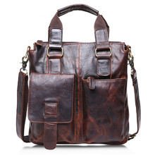 Vintage Chocolate / Brown Real Skin Genuine Leather Men Messenger Bags Cowhide Man Briefcase Portfolio Handbags #M259