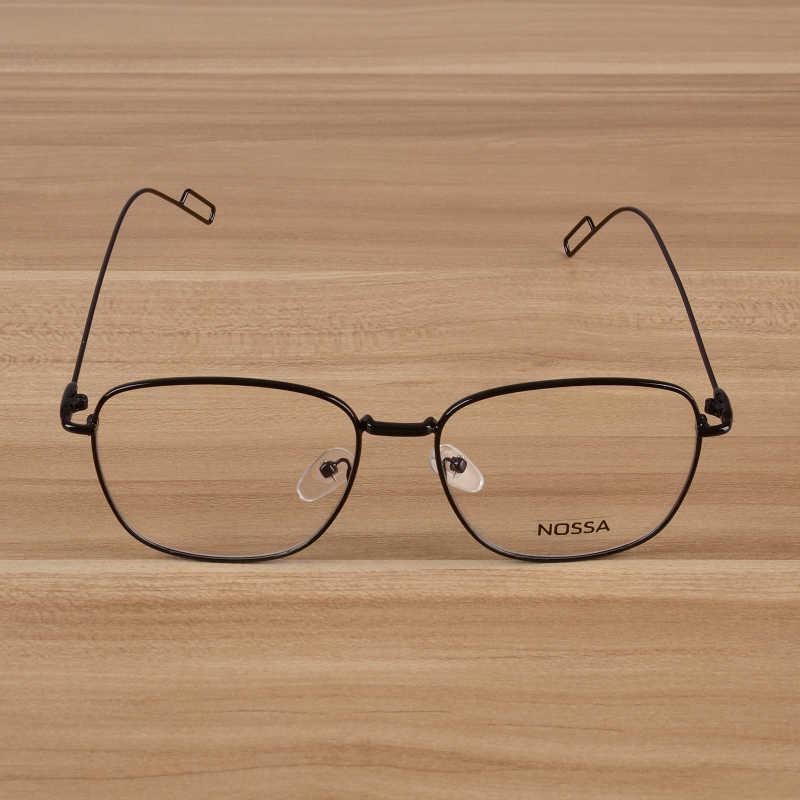 Nossa Emas Resep Kacamata Bingkai Logam Elegan Square Optik Wanita & Pria Kacamata Unisex Miopia Bingkai Kacamata
