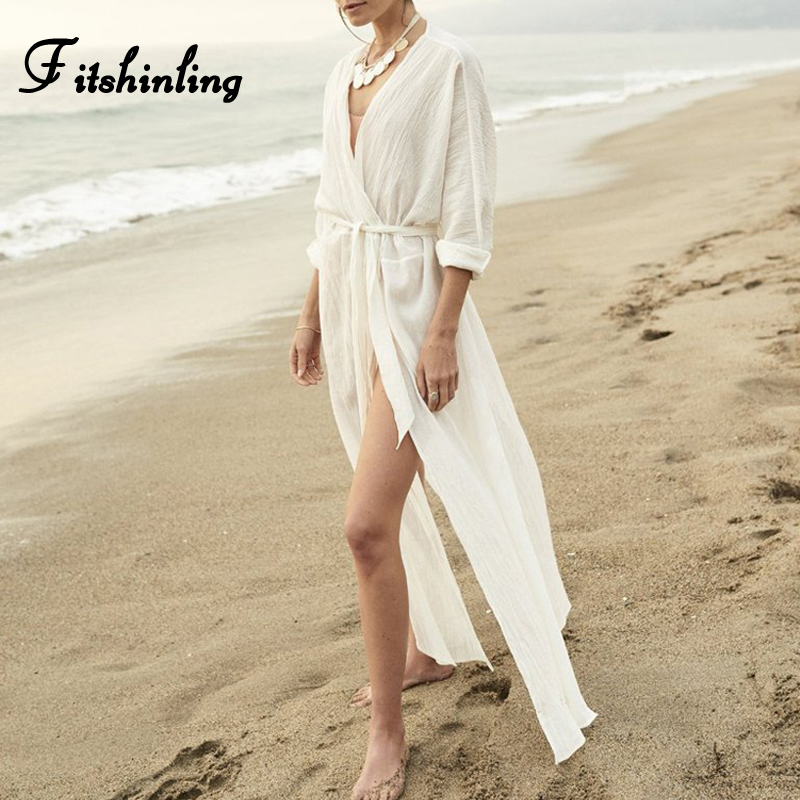 Fitshinling Bohemian white beach cover up sashes slit sexy hot long cardigan kimono swimwear autumn long sleeve cover-ups sale
