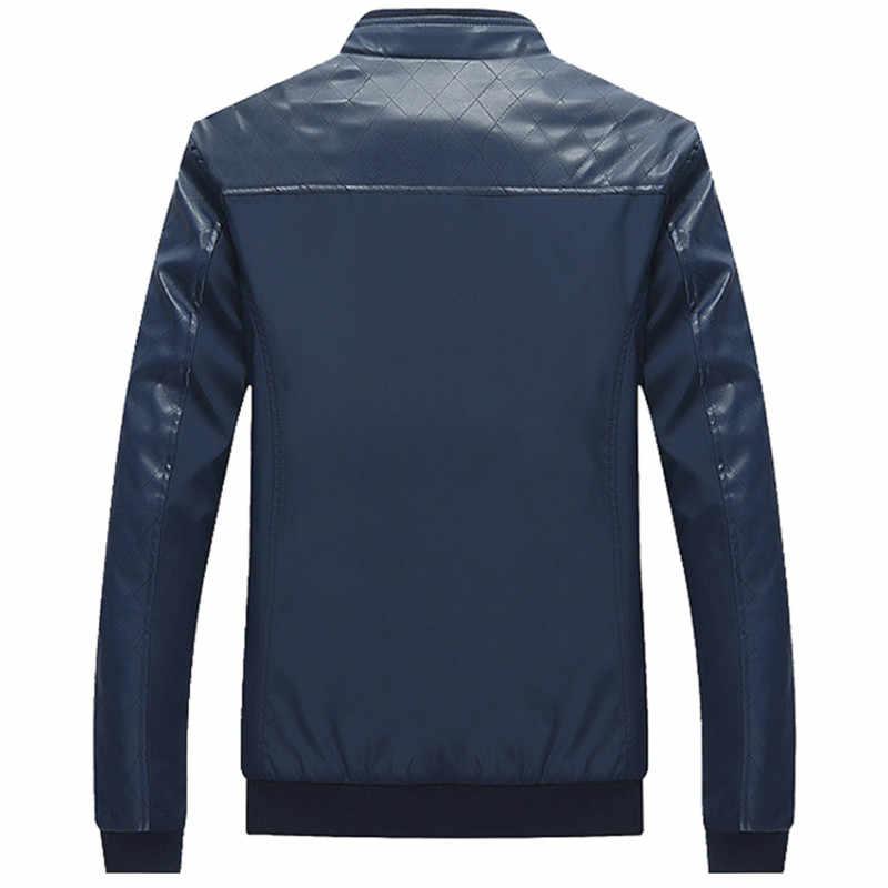 2019 erkek pu deri Patchwork Ceketler Sonbahar Moda Mont Rahat Erkek Giyim Standı Yaka Ceket Erkek Giyim Slim Fit 5XL