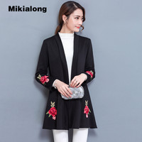 Mikialong Kimono Cardigan Femme 2017 Tunic Floral Embroidery Knitted Sweater Women Long Sleeve Winter Coat Warm