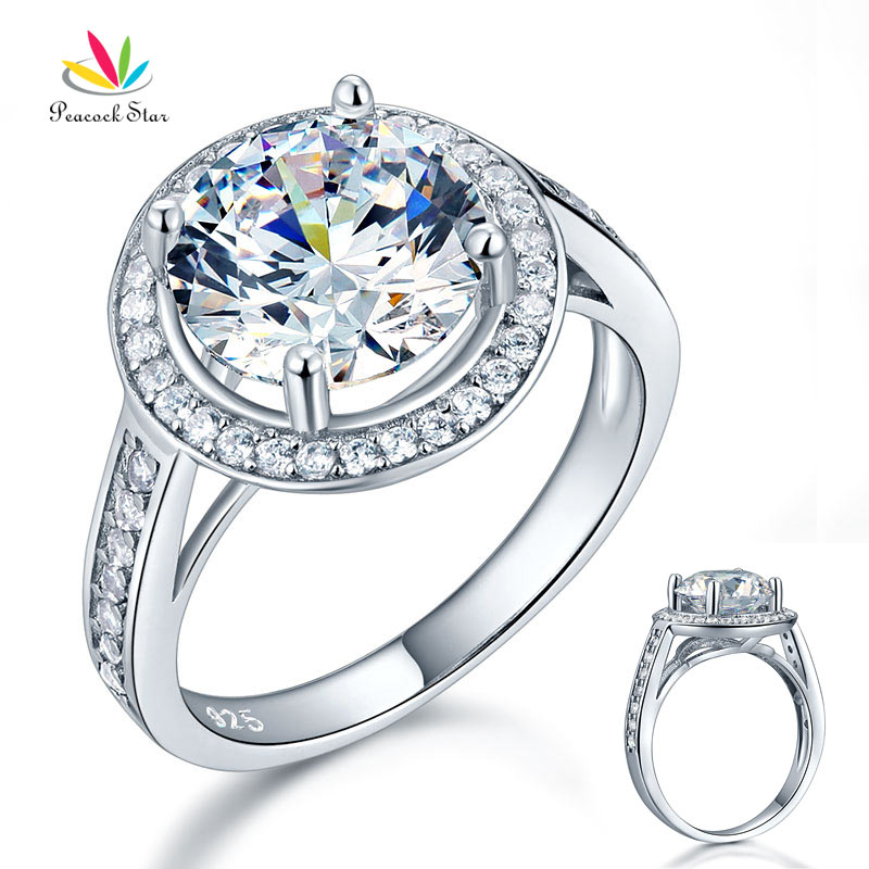 все цены на Peacock Star Luxury Solid 925 Sterling Silver Wedding Anniversary Engagement Ring Halo 3.5 Ct CFR8235 онлайн