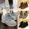 Alta qualidade Estilo Britânico Casuais Das Mulheres do Salto Liso Botas Martin Botas Femininas Sapatos Da Moda