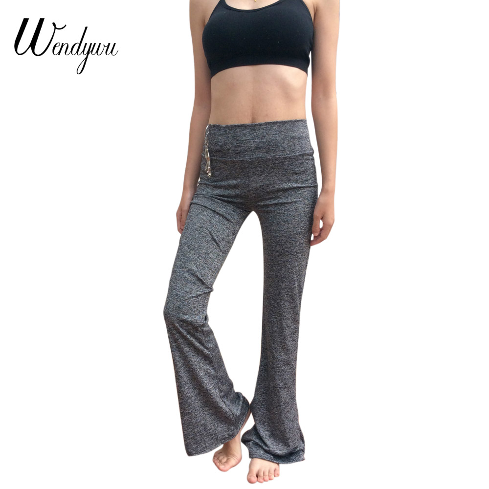 Wendywu New Design Casual Solid Gray Stretch Mid Waist Boot Cut Long Leggings for Women