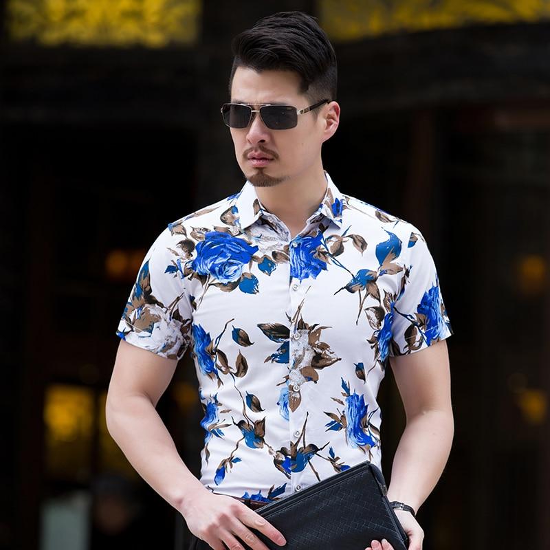 bb2bb727694c High Quality Shirt Men Summer 2018 Short Sleeve Fashion Men Floral Shirts  Slim Fit Plus Size Business Social Shirts Mens 7XL M-in Casual Shirts from  Men s ...