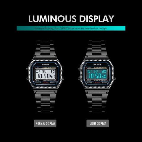 SKMEI Women Watches Drill Diamond Sport Watch Digital Alarm Stainless Steel Luxury Ladies reloj inteligente mujer Women Watches Islamabad