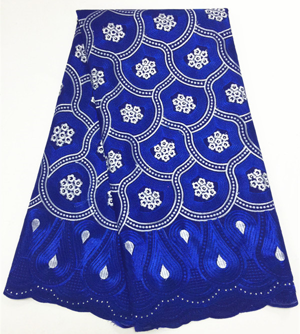 Royal Blue Nigerian Lace fabrics 2018 African Swiss Voile Lace High Quality Swiss Voile Lace in