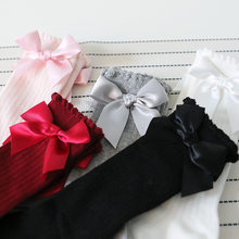 Socks Girls Summer Infant Girls knee High Red Black Pink White Gray Socks Bows Princess Kids Spanish Socks For Baby Toddlers(China)