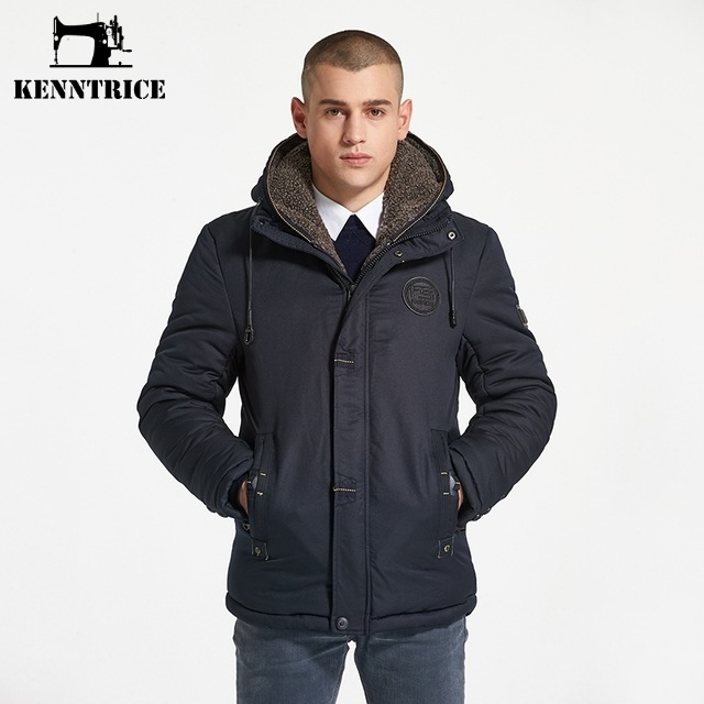 KENNTRICE Droppshipping Cold Thick Hooded Snow Winter Coats Mens Thermal Overcoat Male Jacket Outwear