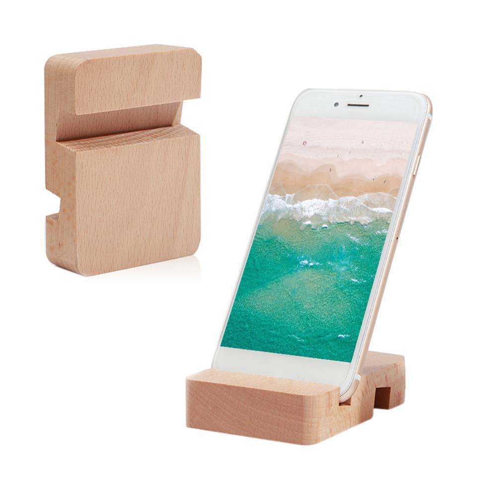 Simple And Modern Style Wooden Double Slot Mobile Phone Holder Universal Stand General Mobile Desktop Stand