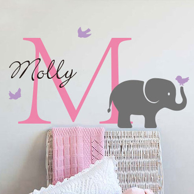 Personalized Custom Initial Name Elephant Wall Sticker Birds S Baby Nursery Wallpaper For Kids Room Home