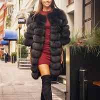 2019 Reale della pelliccia di Fox del cappotto delle donne grigio manica corta Gilet Staccabile Trasformare Maglia di Modo di Lusso di Spessore Cappotto Caldo del Rivestimento Solido pelliccia