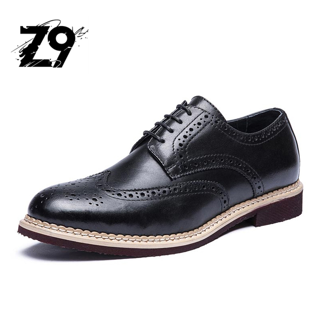 Top classic men flats shoes oxford style business handmade lace-up leather  bullock supper light