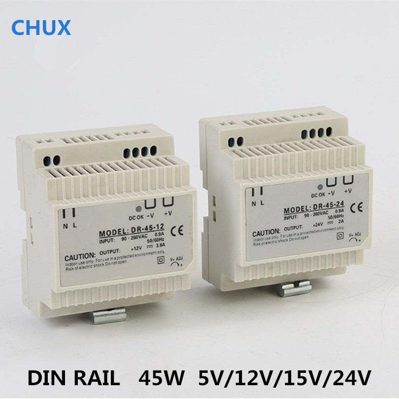 <font><b>Din</b></font> Rail Switching Power Supply 45W 5v 12v <font><b>24v</b></font> 15v <font><b>DC</b></font> <font><b>AC</b></font> DR45W LED Driver SMPS Switch Transformer image