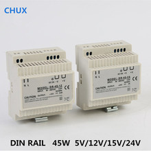 Din Rail Switching Power Supply 45W 5v 12v 24v 15v DC AC DR45W LED Driver SMPS Switch Transformer ac to dc smps pfc function 350w switching power supply 13 5v 25a led driver source switching power supply 13 5volt