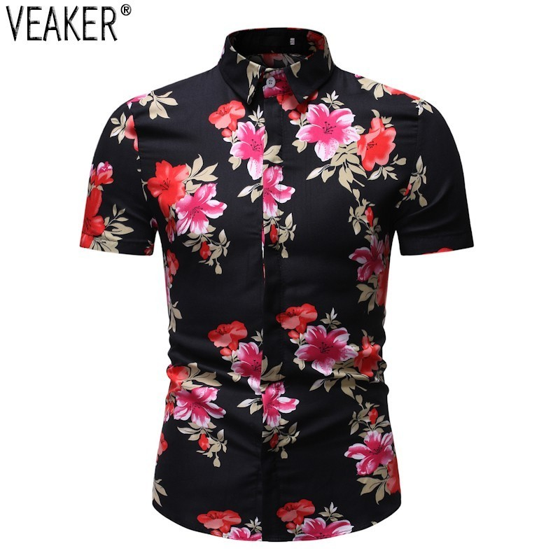 2019 New Men's Floral Printed Shirts Male Summer Slim Fit Casual Beach Shirt Male Short Sleeve Flower Print Business Shirt Tops