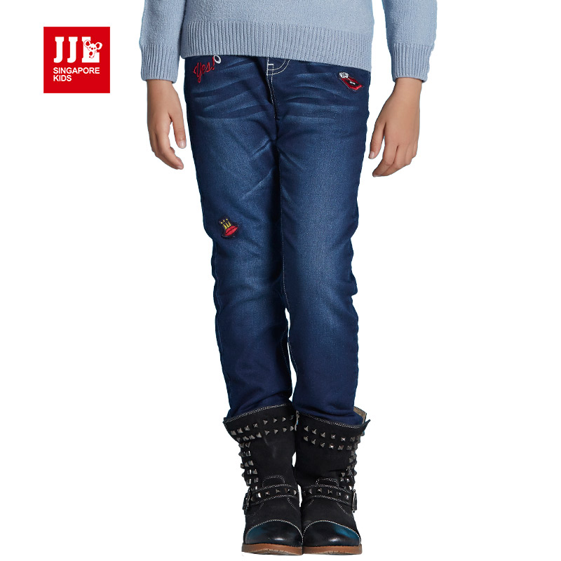 Brand warming lining winter girls jeans dark blue kids denim jeans kids jeans warm girls ...