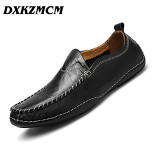 DXKZMCM Mens Shoes Casual Genuine Leather Men Shoes Fashion Men Loafers SIZE 38-44