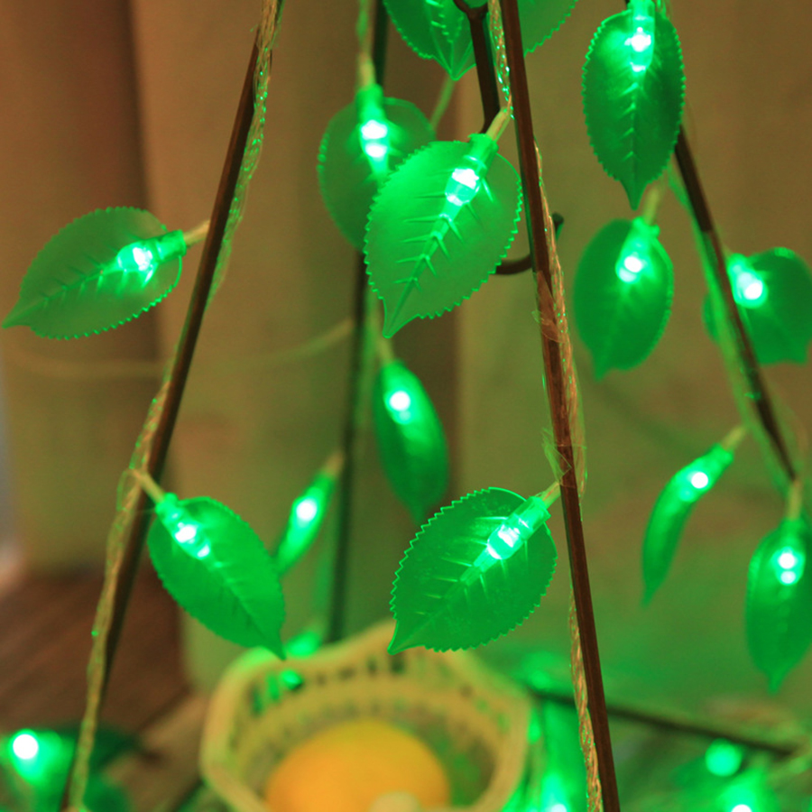 Thrisdar <font><b>10M</b></font> <font><b>100LED</b></font> Green Leaf Christmas Fairy String Light 110V <font><b>220V</b></font> Wedding Valentine's Day Event Party Holiday Garland Light image