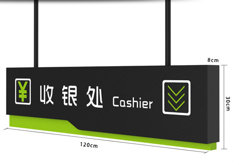 Supermarket Checkout Counter Instructions Signage Board Customized Advertising Sign Box Hanging Direction Ceiling Sign Plate signage